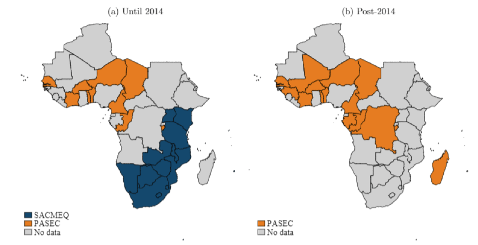 Figure 1. Regional Assessment Coverage of African Countries: PASEC and SACMEQ