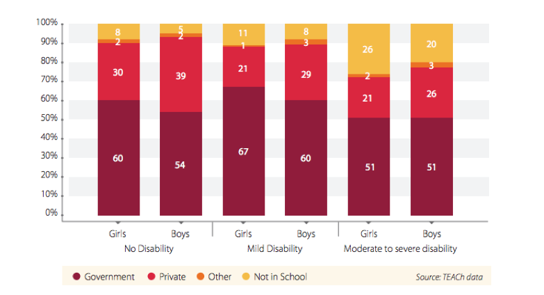 Type of school attended by disability and gender