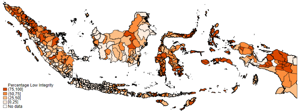 Map of Indonesia showing percentages of low integrity in districts