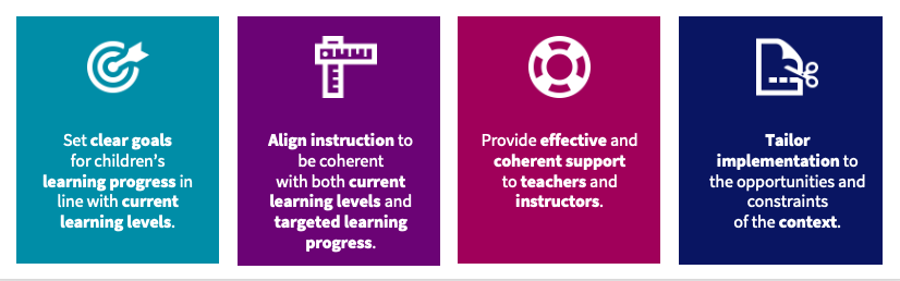 Infographic with 4 boxes naming the principles that have been identified in the paragraph above and named collectively as ALIGNS (Aligning Levels of Instruction with the Goals and Needs of Students).