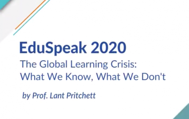 Title slide for EduSpeak event which includes the name of the event and the speaker