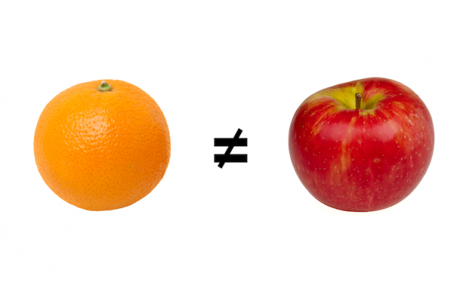 graphic showing that apples and oranges are not the same thing